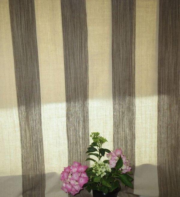 画像2: カーテン H2300(高窓用) よもぎ草木染め&生成りボーダー