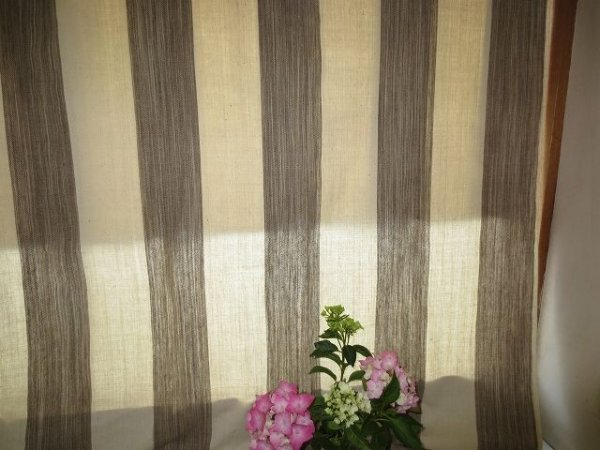 画像1: カーテン H2300(高窓用) よもぎ草木染め&生成りボーダー