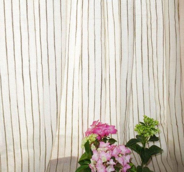 画像1: カーテン ガーゼ UVカット率62.9% H1600(腰窓用)よもぎライン