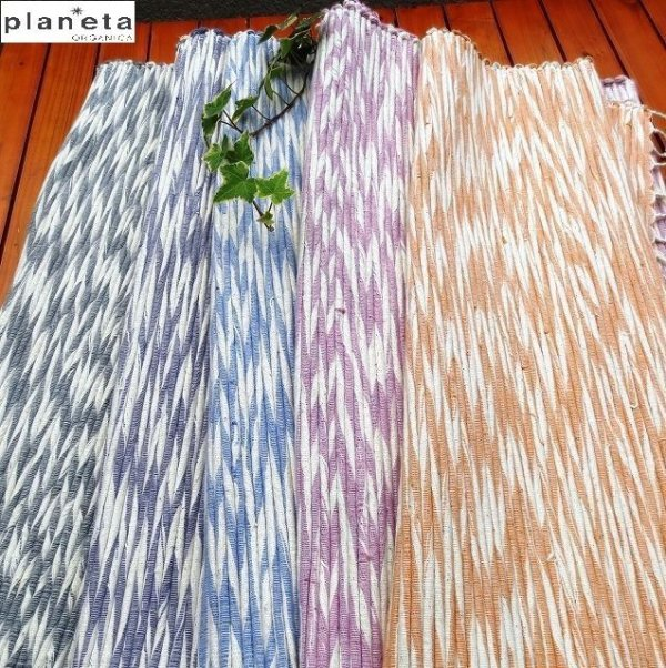画像1: プラネッタのヘンプ&コットンのラグ(小)手織り草木染め